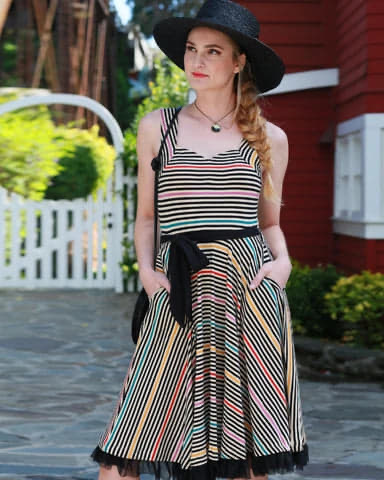 The Cinema Dress-Prismatic Stripe $98.00