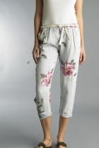 Tempo Paris Silver Linen Pants $92.00